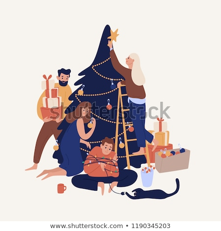 Familie Vorbereitung Weihnachten Vektor Mann Frau Stock foto © robuart