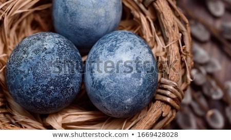 Húsvét festett tojások márvány hatás tyúk Stock fotó © furmanphoto