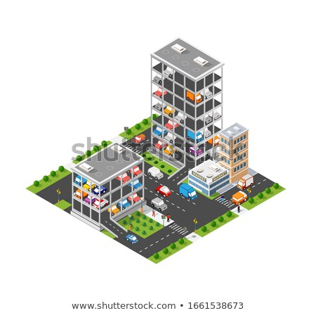 Multi-story buildings city structure with road. Stock photo © artjazz