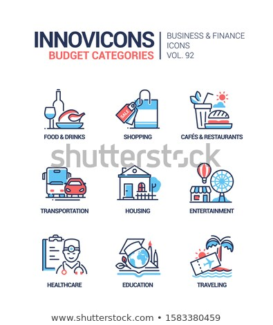Budget categories - line design style icons set Stock photo © Decorwithme