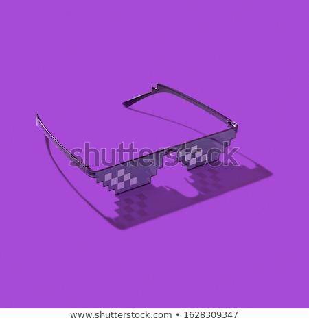 Pixel art glasses on with hard shadows. Stock photo © artjazz