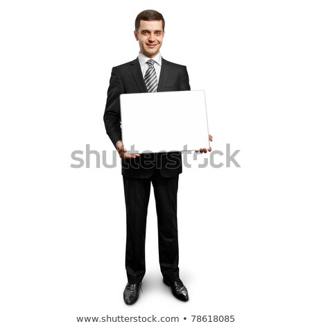 feliz · empresário · cartão · branco · mãos - foto stock © leedsn