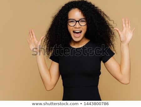 Mezza lunghezza shot soddisfatto donna palme felicità Foto d'archivio © vkstudio