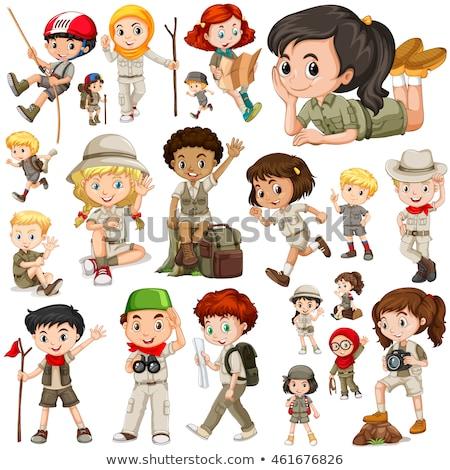 Conjunto meninos meninas safári branco ilustração Foto stock © bluering