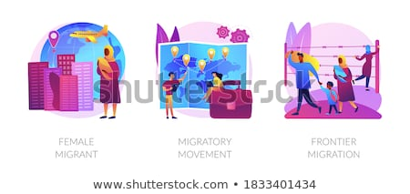 Refugees of war and gender discrimination abstract concept vector illustrations. Stock photo © RAStudio