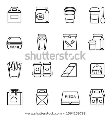 Take Away Food And Drink Delivery Icons Set Vector Stock photo © pikepicture