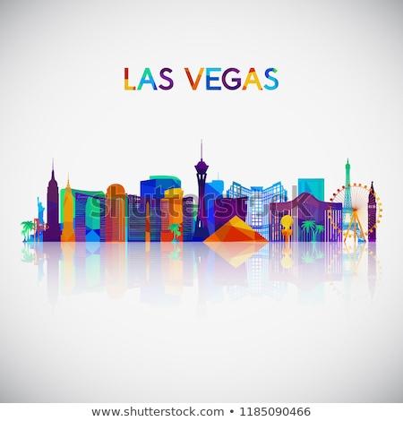 Absztrakt Las Vegas sziluett szín épületek üzleti út Stock fotó © ShustrikS