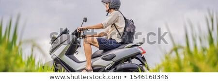Erkek gezgin bisiklet turist bali Stok fotoğraf © galitskaya