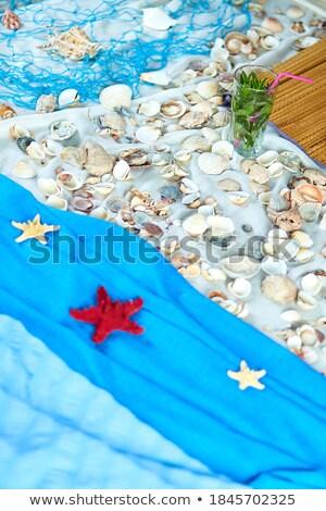 Top view of imitates summer sea beach vacation at home quarantine.  Stock photo © Illia