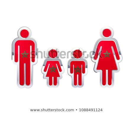 Glossy metal badge icon in man, woman and childrens shapes with Morocco flag, infographic element on Stock photo © evgeny89