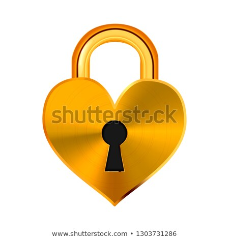 Closed realistic golden padlock in heart shape isolated on white Stock photo © evgeny89