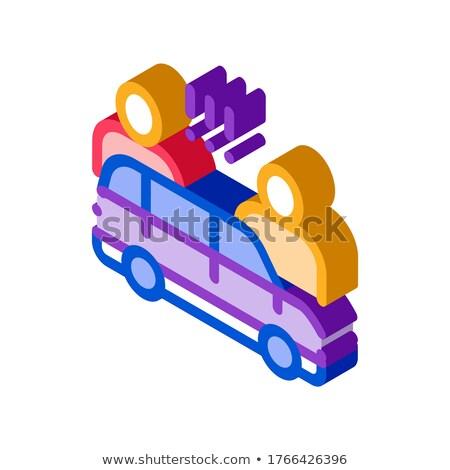 Kłócić się samochodu izometryczny ikona wektora podpisania Zdjęcia stock © pikepicture