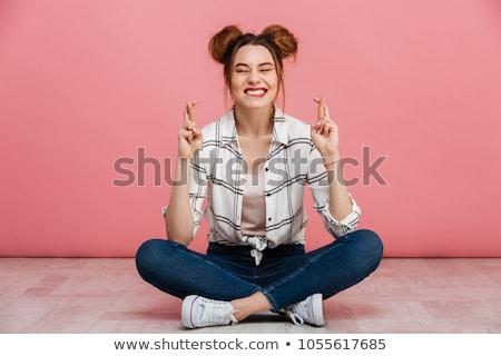 изображение возбужденный кавказский женщину пальцы Сток-фото © deandrobot