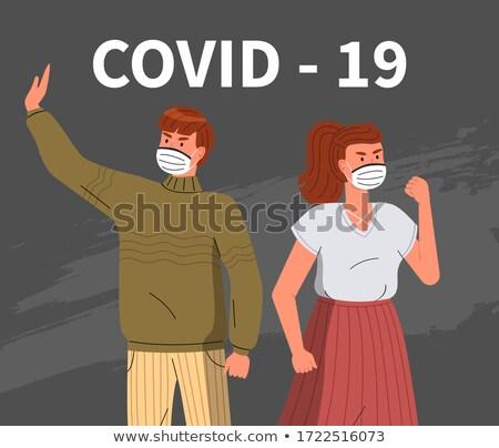 Women wearing medical masks call to fight virus, stop sign against coronavirus spreading, epidemic Stock photo © robuart