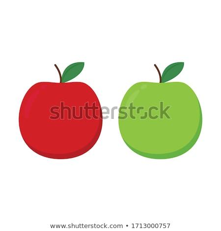 赤いリンゴ · 緑色の葉 · 水滴 · 孤立した · 白 - ストックフォト © konturvid