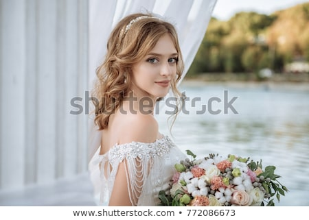 Stok fotoğraf: Genç · gelin · çiçekler · kız · seksi · moda