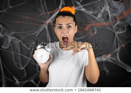 Time scare for beautiful young black girl Stock photo © darrinhenry