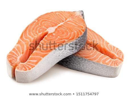 łososia stek odizolowany biały tekstury żywności Zdjęcia stock © Leonardi
