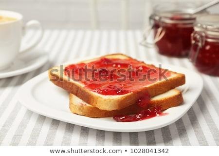 pirítós · eper · lekvár · izolált · fehér · reggeli - stock fotó © fotogal