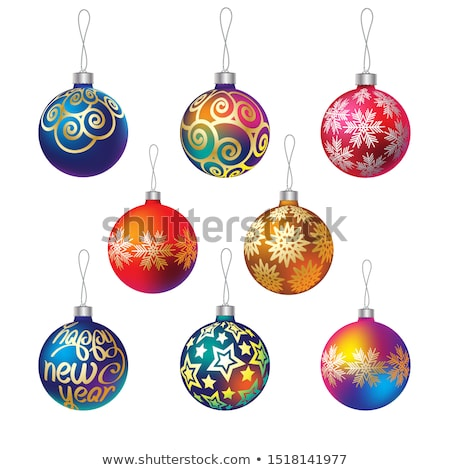 Stock photo: Background with stars and Christmas balls. EPS 8