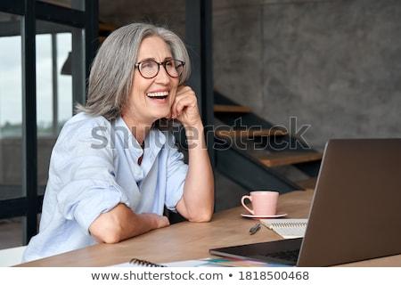 Zakenvrouw ouderwets bril vrouw achtergrond Stockfoto © Elisanth