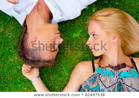 Portrait sweet couple amour photo au-dessus Photo stock © HASLOO