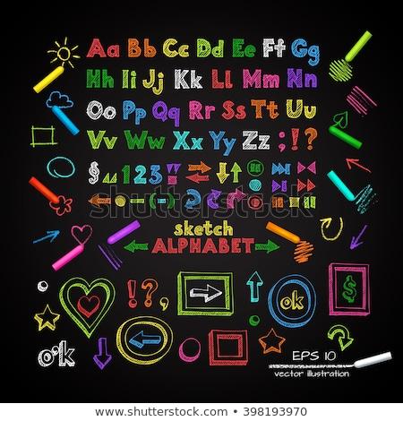 branco · giz · cartas · alfabeto · lousa - foto stock © bbbar