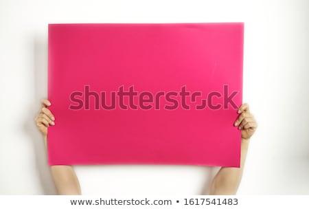 Stock fotó: Nő · tart · üres · tábla · gyönyörű · fiatal · nő · magasra · tart