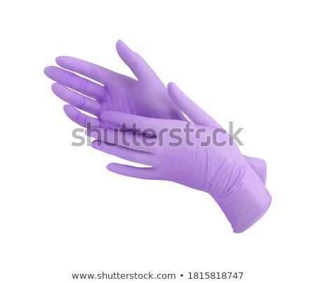 çift eldiven siyah deri kahverengi kürk Stok fotoğraf © RomanenkoAlex