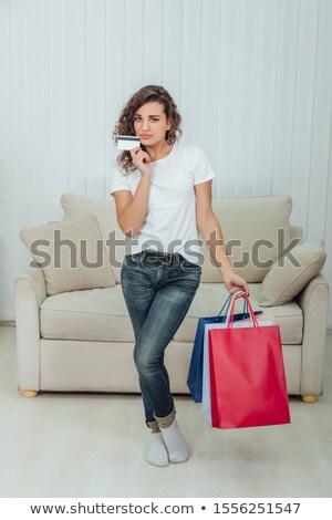 Gelukkig klant vrouw bril centraal Stockfoto © stryjek