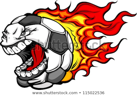 Stock foto: Soccer Ball Flaming Face Vector Image