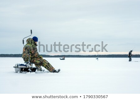Buz balıkçı mutlu kuzey su Stok fotoğraf © stevemc