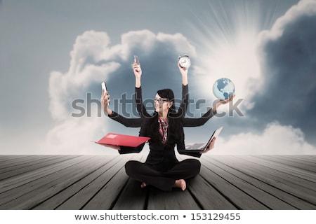Jovem empresária multitarefa negócio computador trabalhar Foto stock © photography33