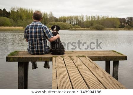 Beste vriend man hond genieten dag samen Stockfoto © stevemc