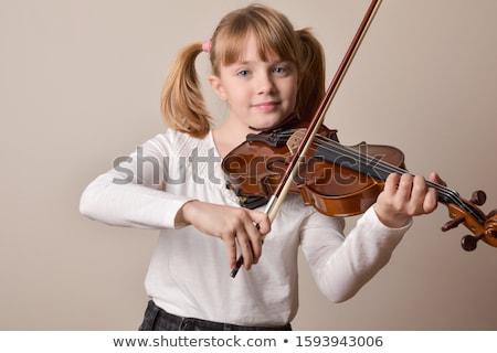 Lány hegedű arany ruha szexi szépség Stock fotó © mrakor