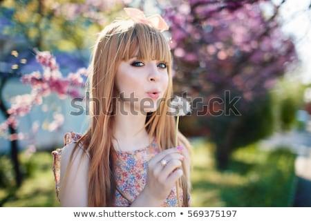 Primavera ragazza rosso sciarpa fioritura albero Foto d'archivio © Aliftin