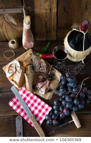 Serrano ham voedsel wijn glas drinken Stockfoto © M-studio