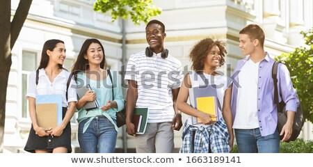 Сток-фото: студентов · баннер · улице · случайный · группа