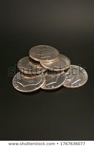Foto d'archivio: Sei · argento · dollari · isolato · nero · finanziare