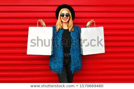 ゴージャス ブロンド ショッピングバッグ 白 女性 ファッション ストックフォト © dolgachov