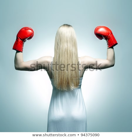 beautiful blonde girl in boxing gloves stock photo © vlad_star