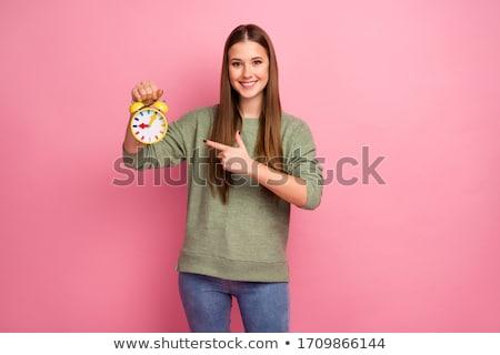 Foto stock: Jóvenes · mujer · de · negocios · verde · color · reloj