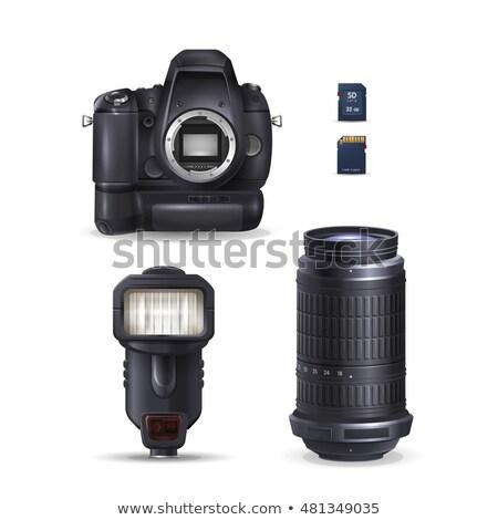 Professionali dslr fotocamera teleobiettivo lenti flash Foto d'archivio © Arsgera