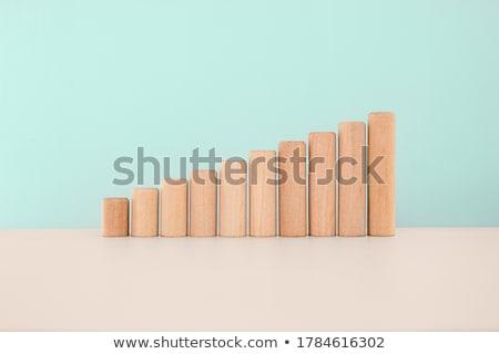 Houten speelgoed blokken witte huis hout onderwijs Stockfoto © Taigi
