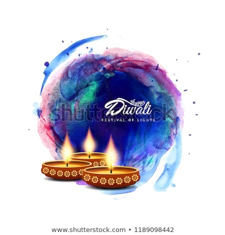 Résumé diwali carte floral lumière lampe Photo stock © rioillustrator