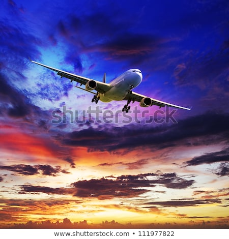 jet aircraft is maneuvering for landing in a spectacular sunset stock photo © moses