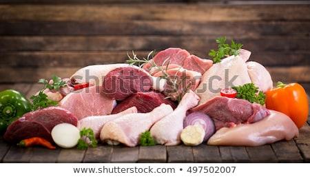 Nyers hús hozzávaló étel fehér szakács Stock fotó © M-studio