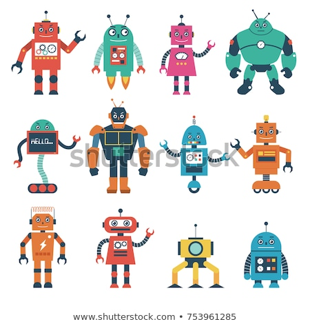 cute · cartoon · robot · vector · mano · hombre - foto stock © kariiika