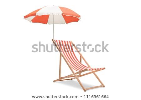 Convés cadeira praia nublado dia lago Foto stock © samsem