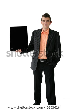 Confident young salesman stood with placard Stock photo © photography33